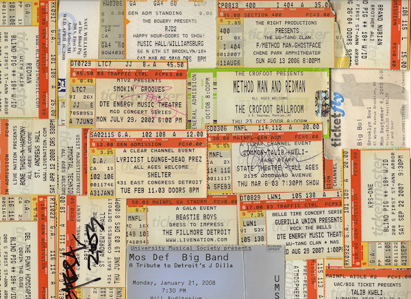 Ticket stubs that represent 10 years worth of gritty, grimy, hip hop show dedication