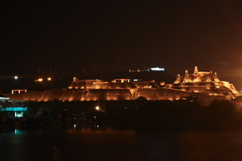 A glowing Castillo de San Felipe in Cartagena, Colombia