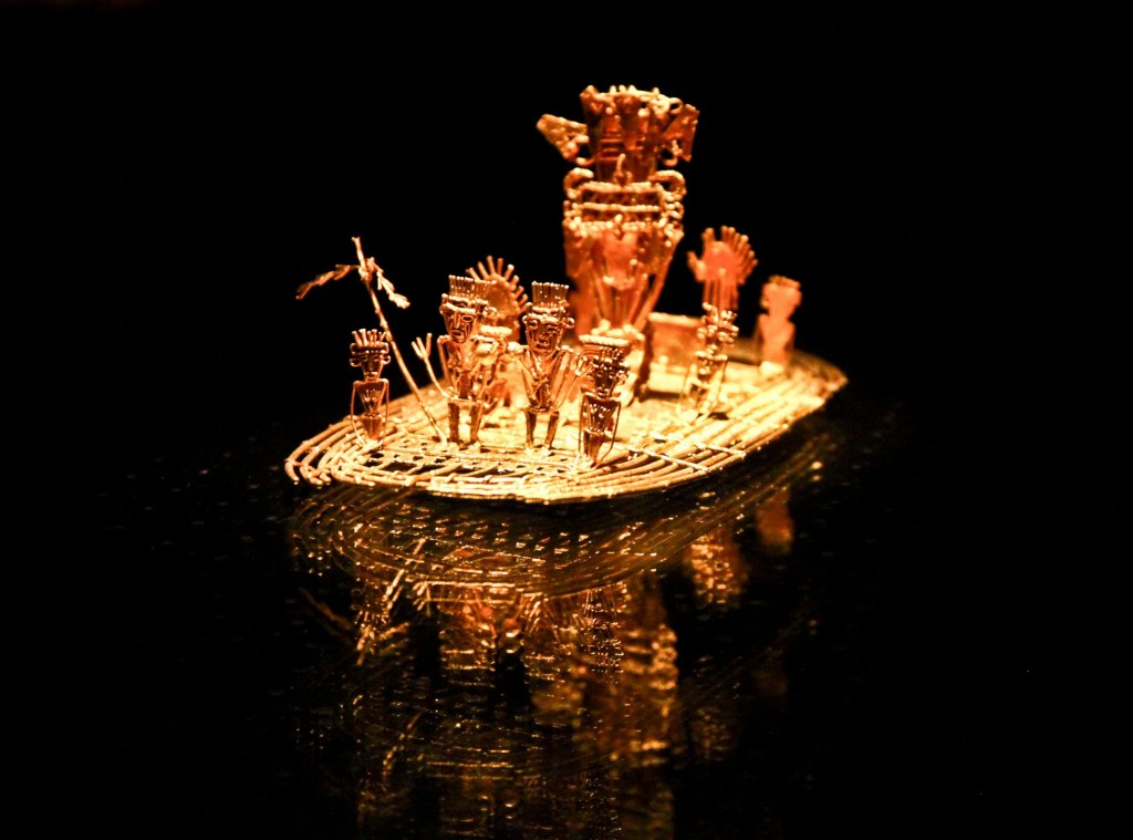 Gold works of los Muisca found and recovered at Lake Guatavita, a sacred site which has come to be known for its origins of the Legend of El Dorado